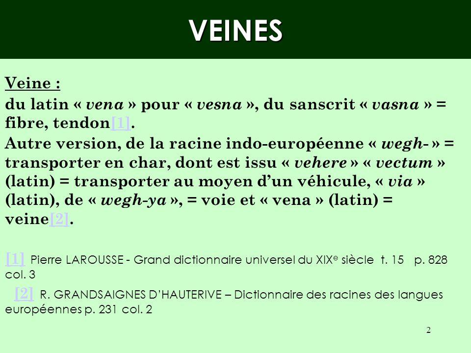 VEINES Veine : du latin « vena » pour « vesna », du sanscrit « vasna » = fibre, tendon[1].